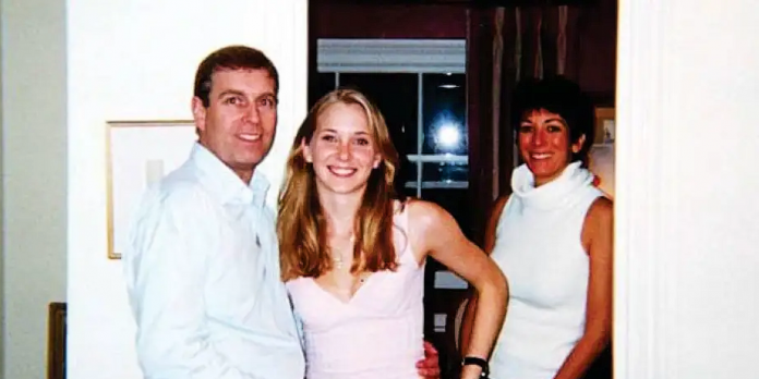 Prince Andrew, Virginia Roberts (Giuffre) pose and Ghislaine Maxwell