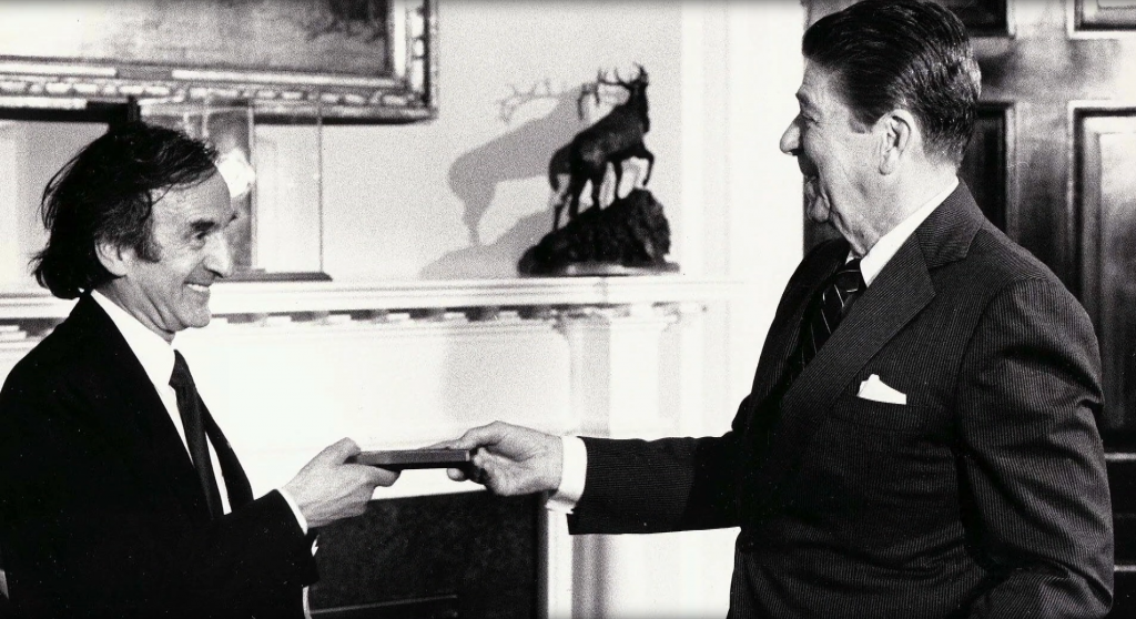 Elie Wiesel and Ronald Reagan