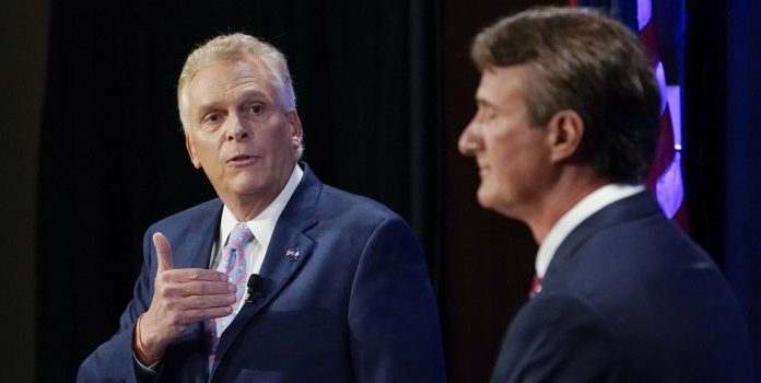 Terry McAuliffe, left, and Glenn Youngkin