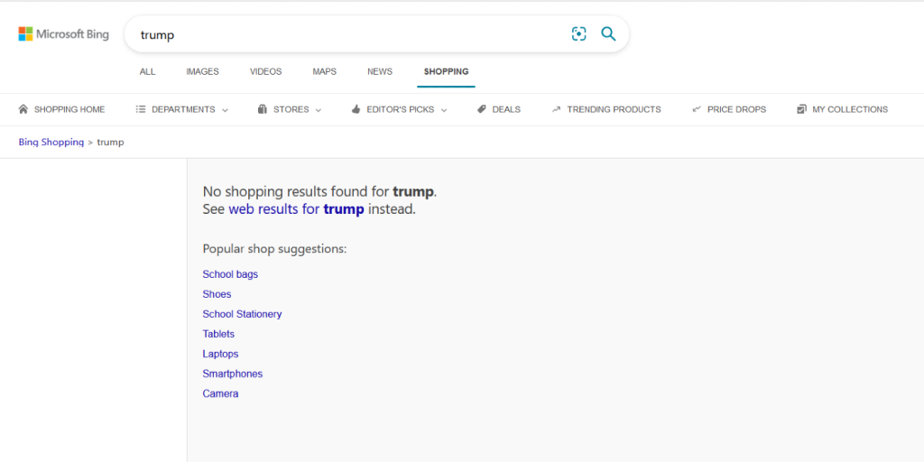 """Bing search results for """"Trump"""""""